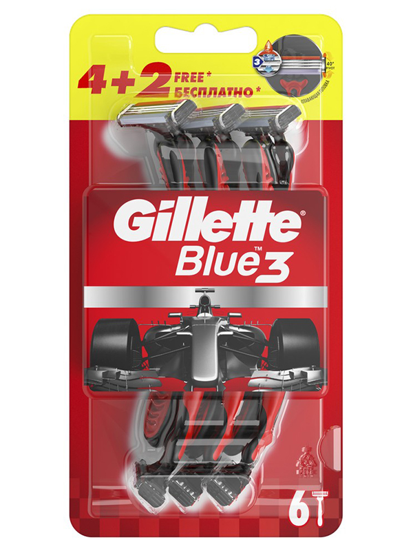 Бритва Gillette Blue 3 Red 6шт 7702018516759