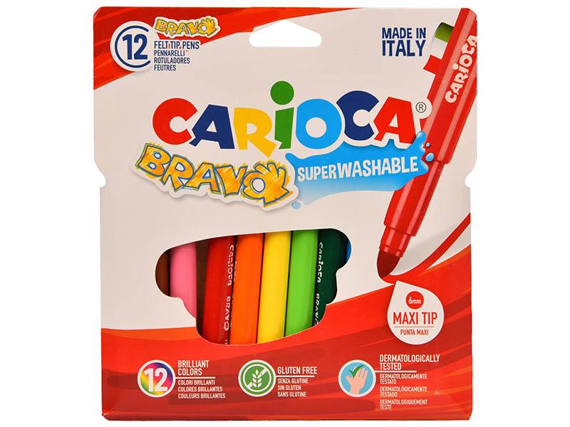 Фломастеры Carioca Bravo 12 цветов 42755