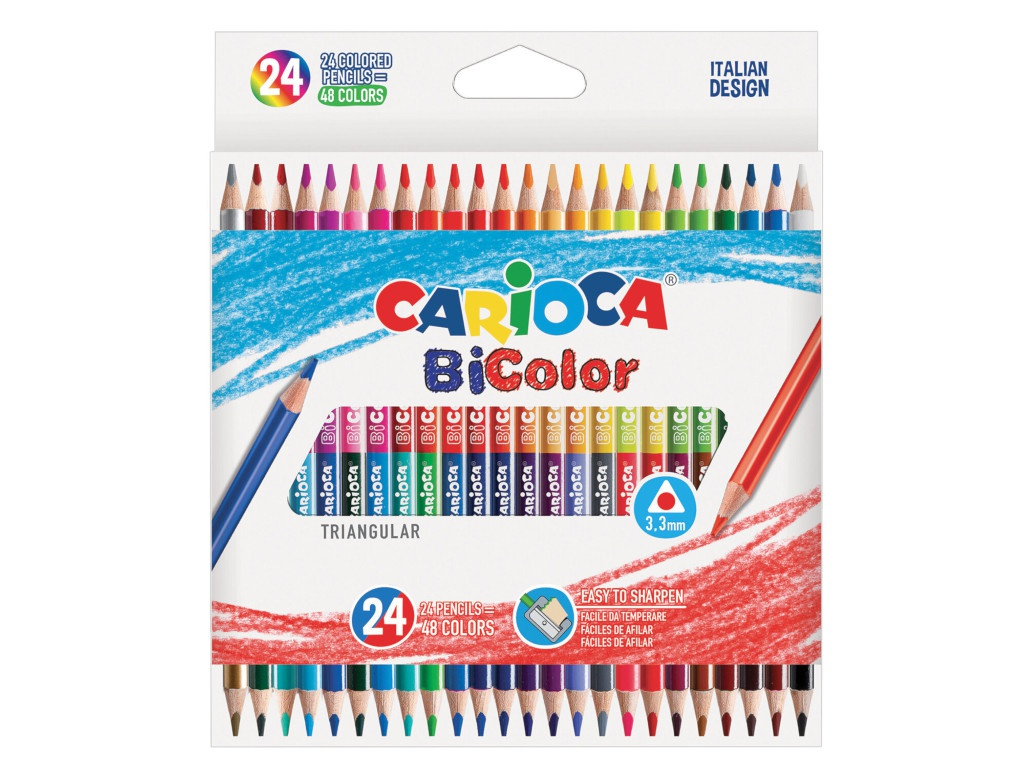 Карандаши цветные Carioca Bi-Color 48 цветов 43031