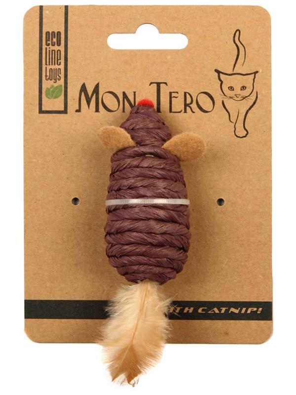 Игрушка для кошек Mon Tero Эко Мышь с перьями кошачьей мятой Purple 51496