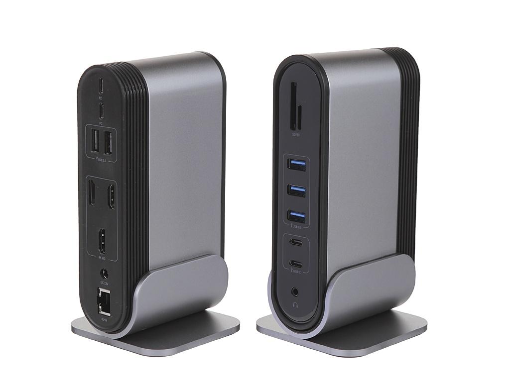 Хаб USB Baseus Working Station Three-Screen Multifunctional Type-C HUB Adapter Dark Grey CAHUB-DG0G