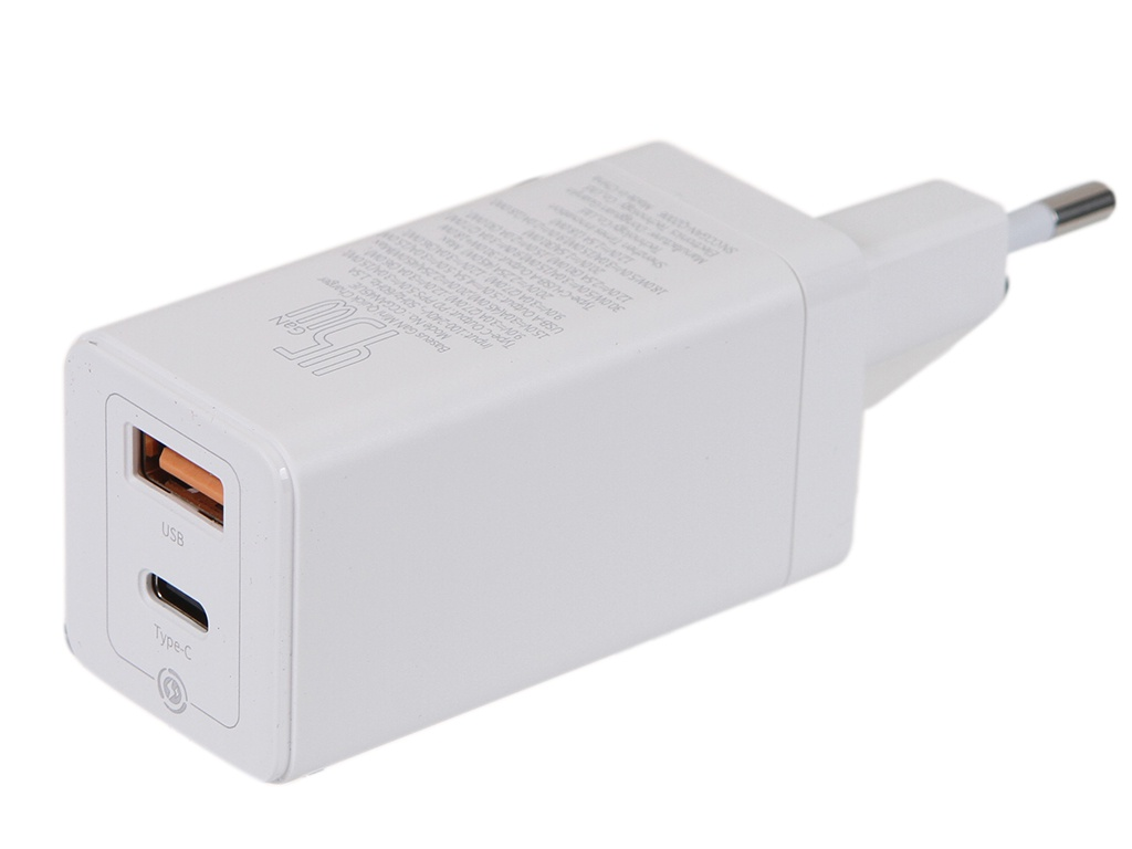 Зарядное устройство Baseus GaN Mini Quick Charger C+U 45W EU White CCGAN-Q02