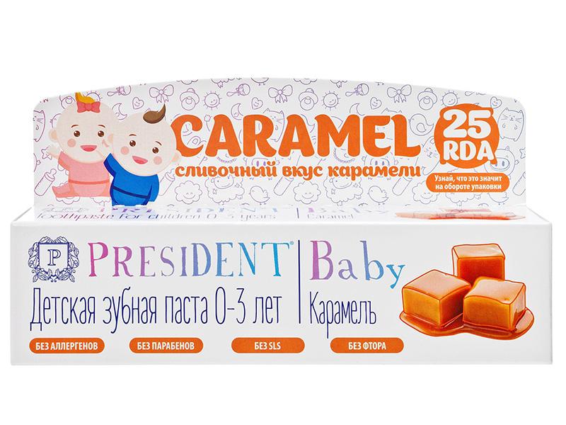 Зубная паста President Baby 0-3 года Карамель без фтора 30ml 18014