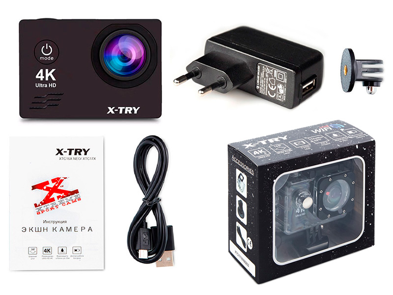 Экшн-камера X-TRY XTC165 Neo UltraHD 4K +СЗУ
