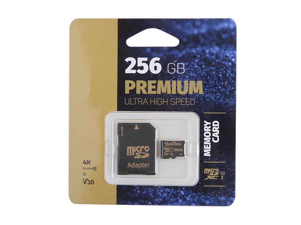 Карта памяти 256Gb - Perfeo microSDXC High-Capacity Class 10 UHS-1 V30 PF256GMCSX10V30A с переходником под SD