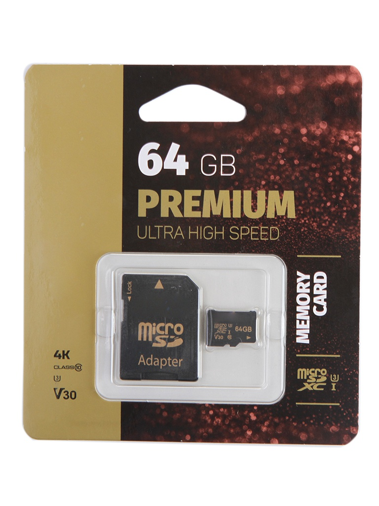 Карта памяти 64Gb Perfeo microSDXC High-Capacity Class 10 UHS-1 V30 PF64GMCSX10V30A с переходником под SD