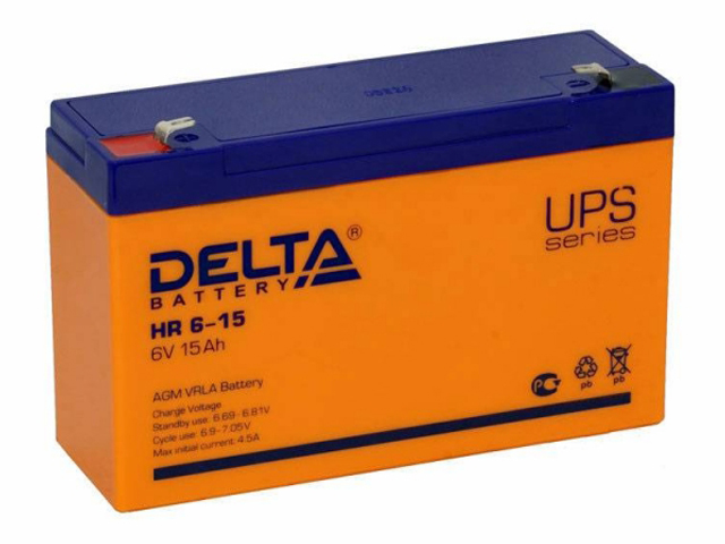 Аккумулятор для ИБП Delta HR 6-15 6V 15Ah