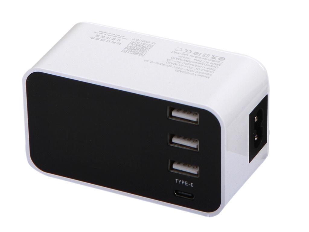 Зарядное устройство Gurdini YC-CDA30 4 Ports 3xUSB 3.0 + USB Type-C White 912912