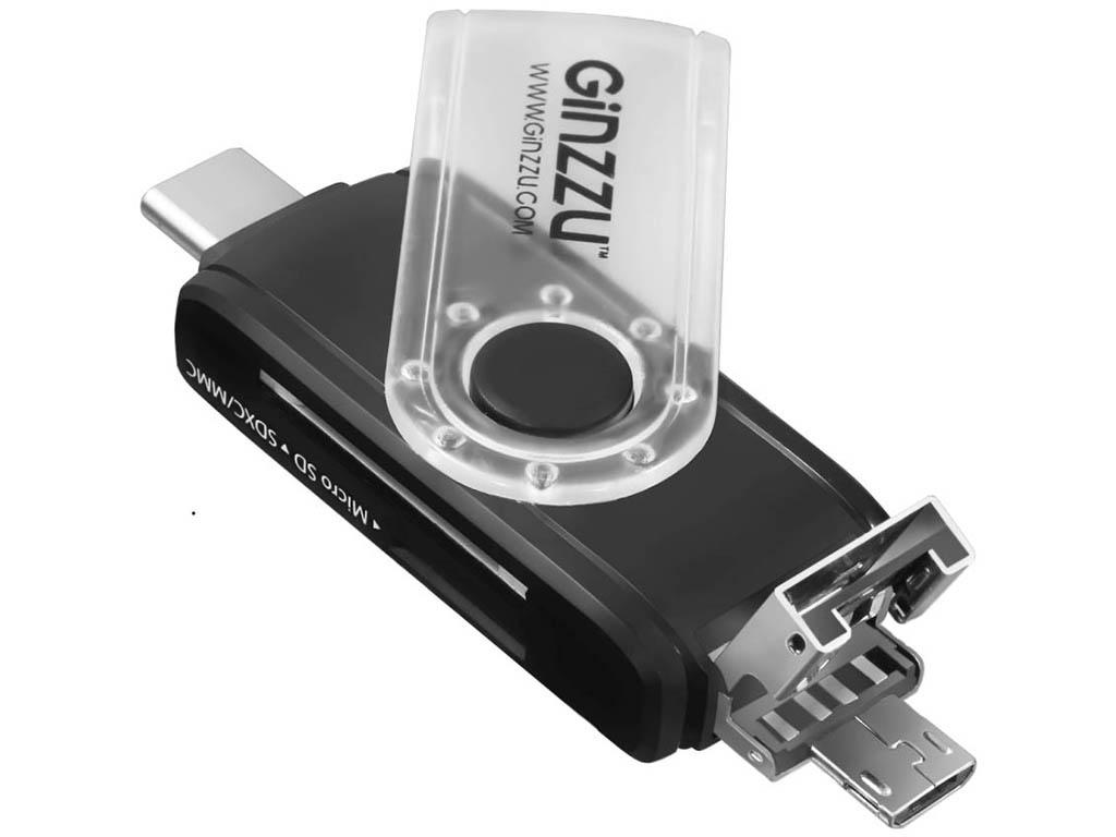 Карт-ридер Ginzzu OTG USB Type-C/MicroUSB/USB2.0/SD/microSD GR-325B