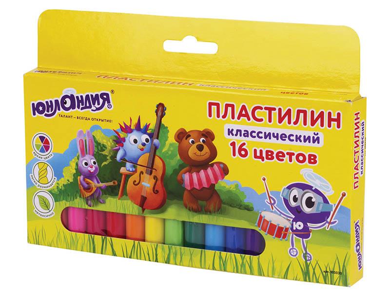 Набор для лепки Юнландия Пластилин Юнландик-музыкант 16 цветов 320g 105030