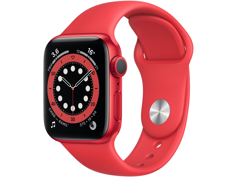 Умные часы APPLE Watch Series 6 40mm Red Aluminium Case with Sport Band M00A3RU/A