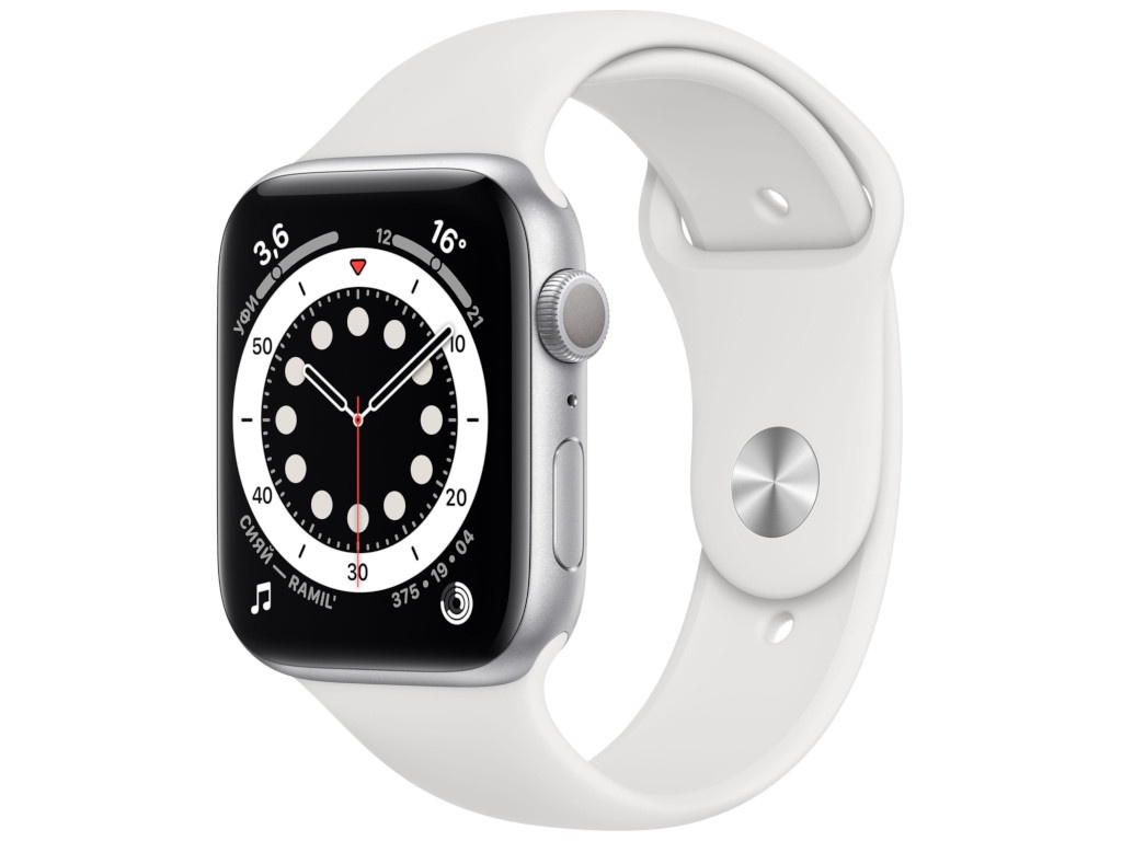Умные часы APPLE Watch Series 6 44mm Silver Aluminium Case with White Sport Band M00D3RU/A