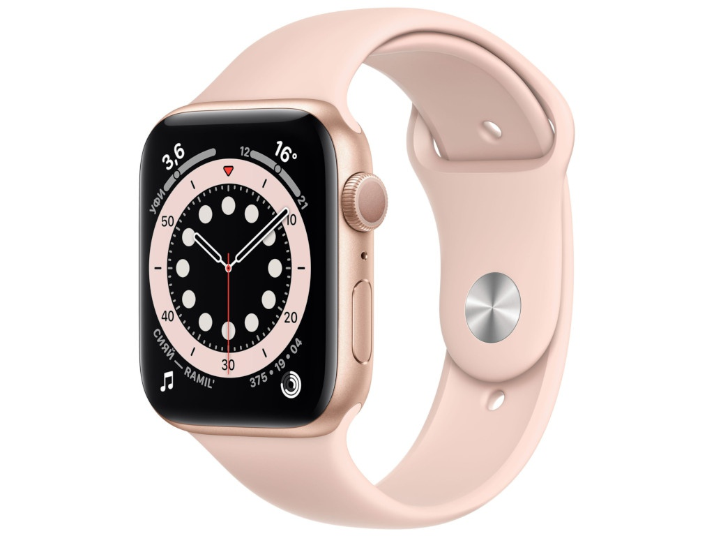 Умные часы APPLE Watch Series 6 44mm Gold Aluminium Case with Pink Sand Sport Band M00E3RU/A