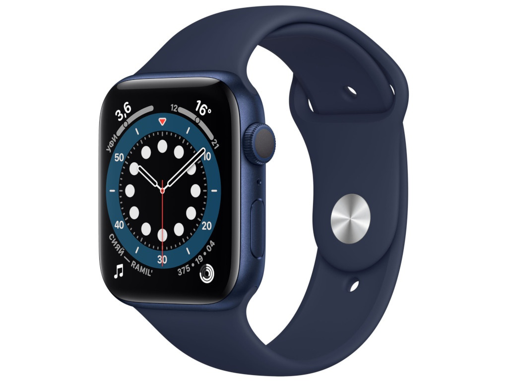 Умные часы APPLE Watch Series 6 44mm Blue Aluminium Case with Deep Navy Sport Band M00J3RU/A смарт часы apple watch series 6 40 мм золотой mg123ru a