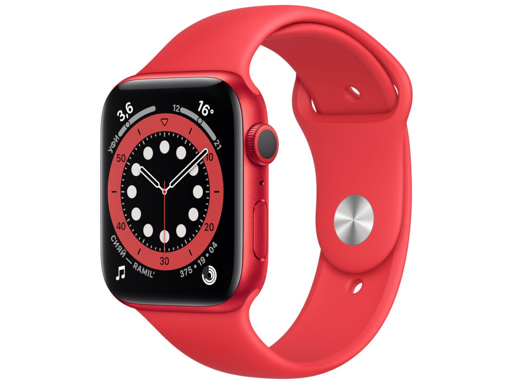 Умные часы APPLE Watch Series 6 44mm Red Aluminium Case with Sport Band M00M3RU/A