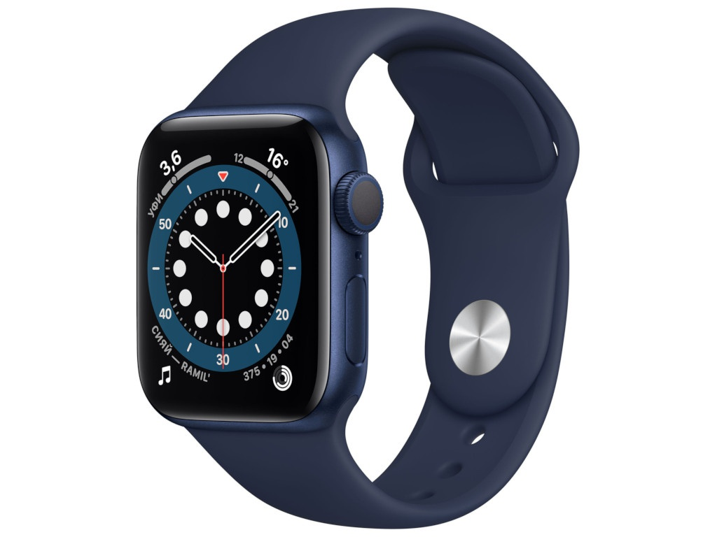 Умные часы APPLE Watch Series 6 40mm Blue Aluminium Case with Deep Navy Sport Band MG143RU/A