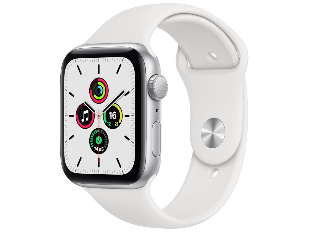 Умные часы APPLE Watch SE 44mm Silver Aluminium Case with White Sport Band MYDQ2RU/A