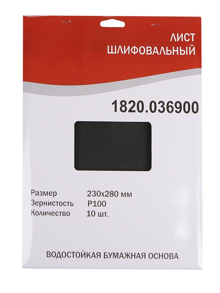 Шлифлист Elitech 230x280mm P100 10шт 1820.036900