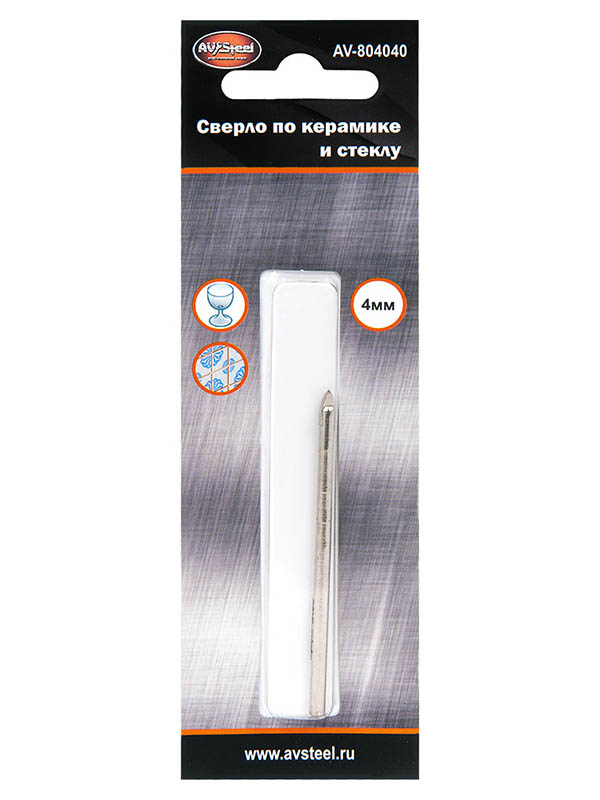 Сверло AV Steel по керамике и стеклу 4.0mm AV-804040
