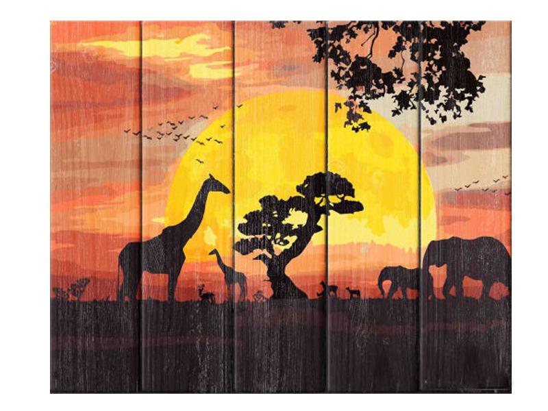 Набор для творчества Dali Арт по дереву Закат в Саванне WS007