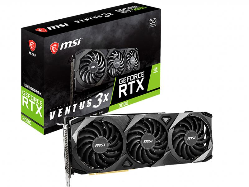 Видеокарта MSI GeForce RTX 3080 1740Mhz PCI-E 4.0 10240Mb 19000Mhz 320-bit HDMI 3xDP HDCP VENTUS 3X 10G OC