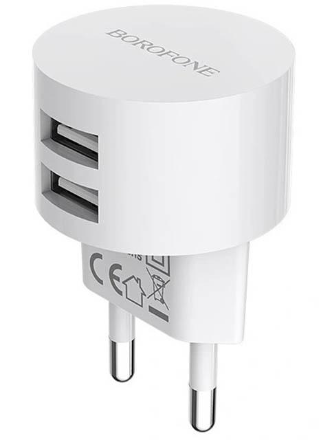 Зарядное устройство Borofone BA23A Brilliant 2xUSB - Lightning 2.4A White УТ000021838 зарядное устройство olmio 2xusb 2 1 1a white 38641