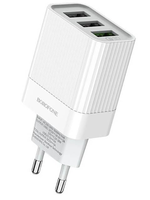 Зарядное устройство Borofone BA40A Speedway 3xUSB QC 3.0 White УТ000021834