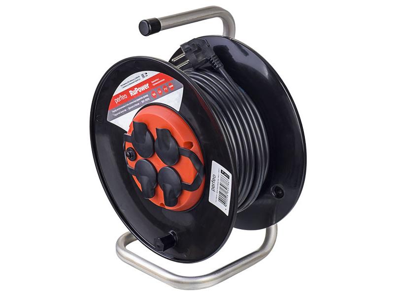 Удлинитель на катушке с заземлением Perfeo RuPower 4 Sockets 40m PF_B4679