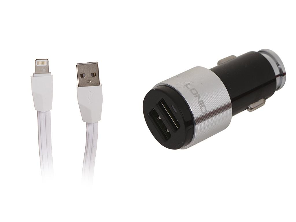 Зарядное устройство Ldnio C403 2xUSB + Lightning 4.2A Black-Silver LD_B4423