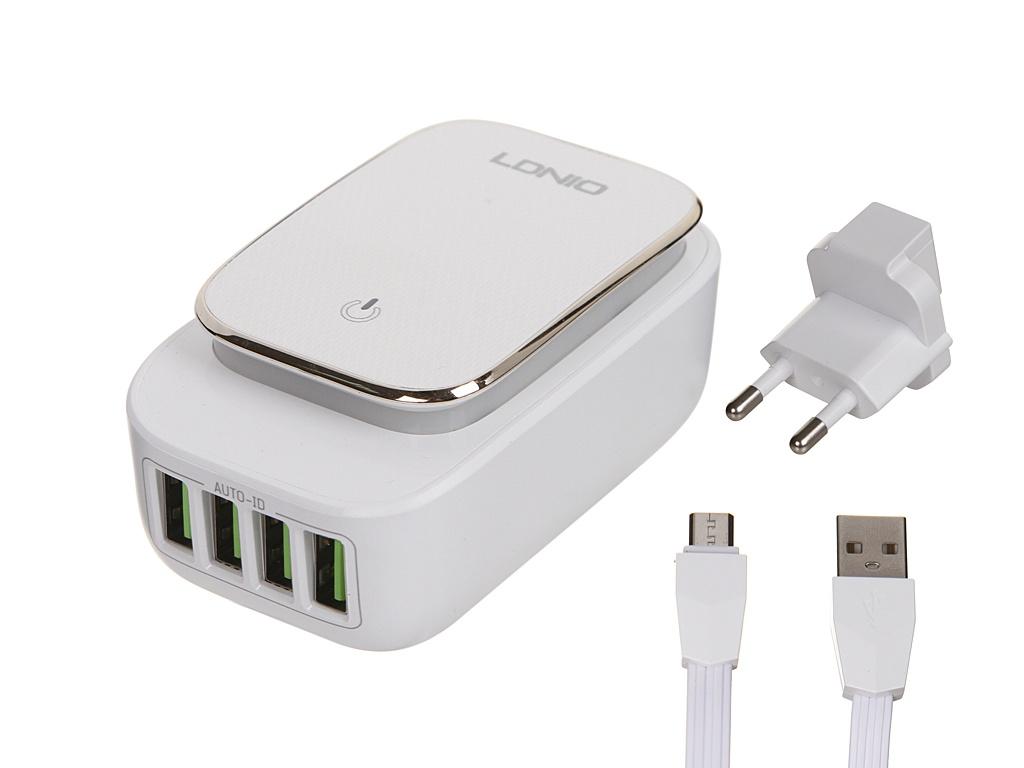 Зарядное устройство Ldnio A4405 4xUSB + MicroUSB 22W White-Gold LD_B4377