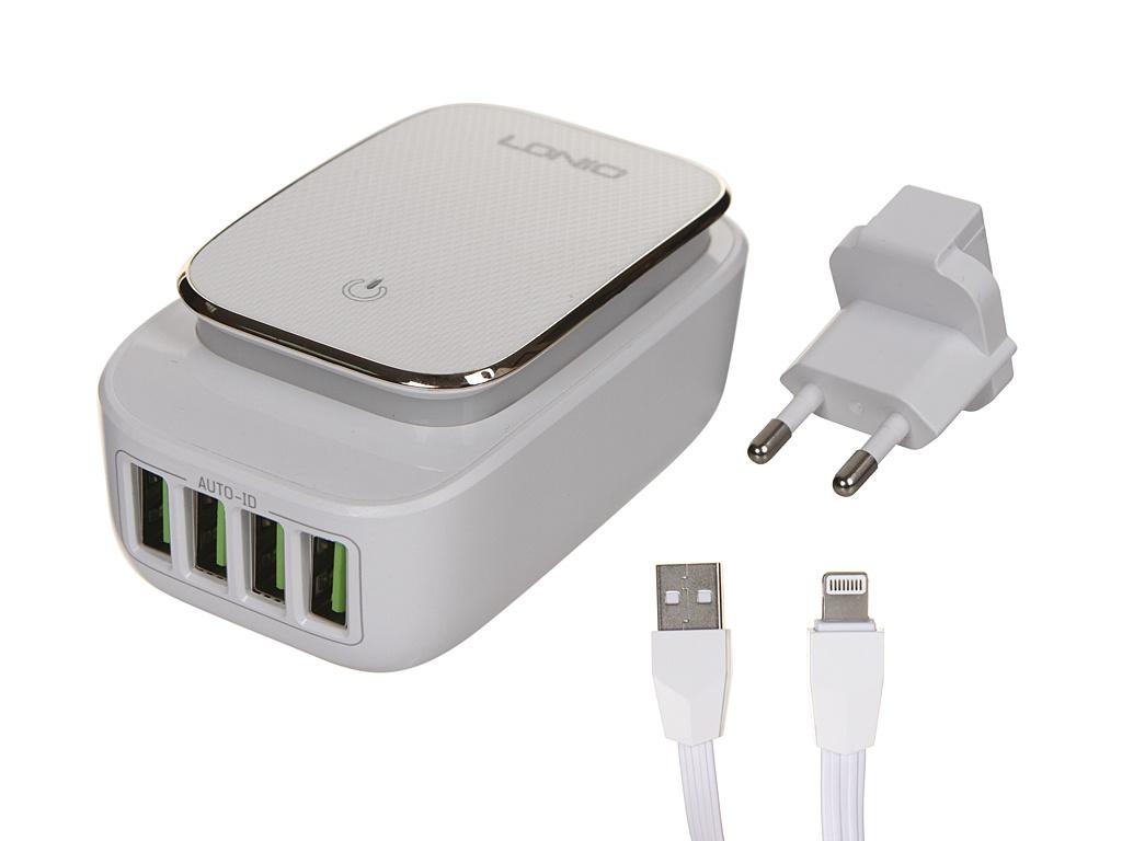 Зарядное устройство Ldnio A4405 4xUSB + Lightning 22W White-Gold LD_B4378
