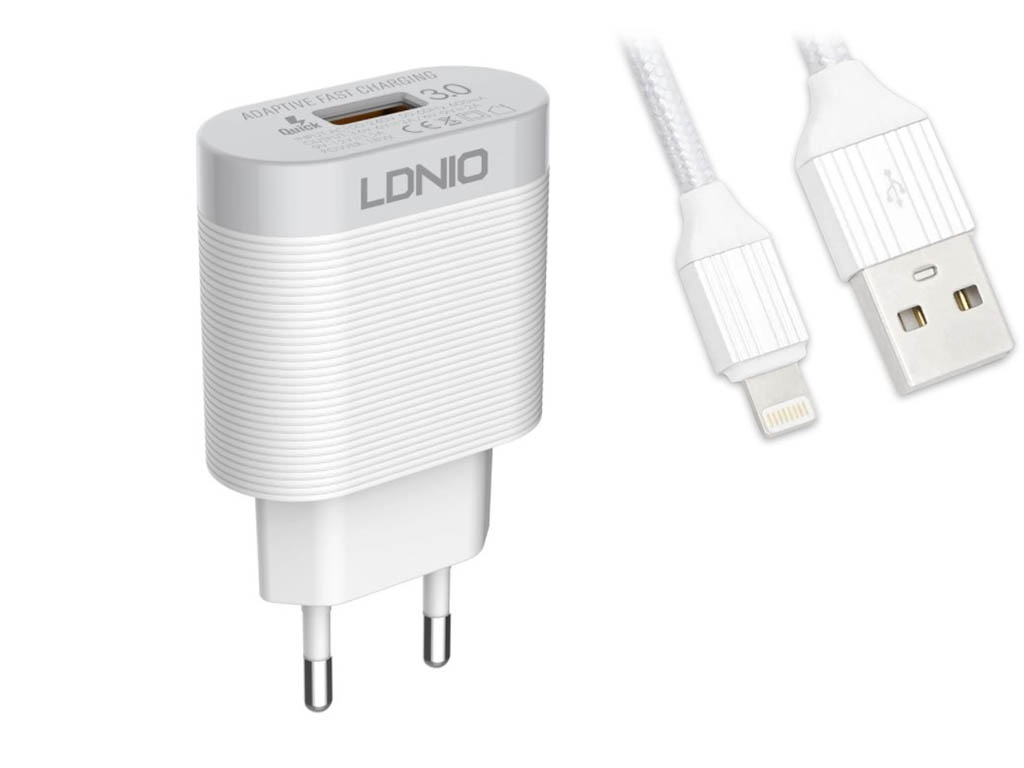 Фото - Зарядное устройство Ldnio A303Q USB + Lightning QC 3.0 18W White LD_B4369 зарядное устройство ldnio a2502c 2xusb microusb pd qc 3 0 36w black ld b4356