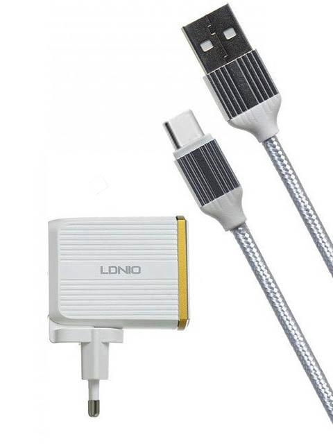 Фото - Зарядное устройство Ldnio A2502Q 2xUSB + Type-C QC 3.0 30W White LD_B4361 зарядное устройство ldnio a2502c 2xusb microusb pd qc 3 0 36w black ld b4356