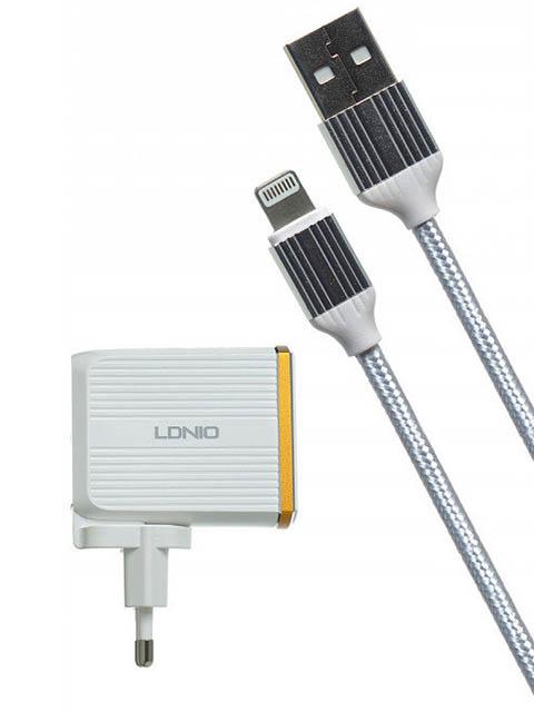 Зарядное устройство Ldnio A2502Q 2xUSB + Lightning QC 3.0 30W White LD_B4360