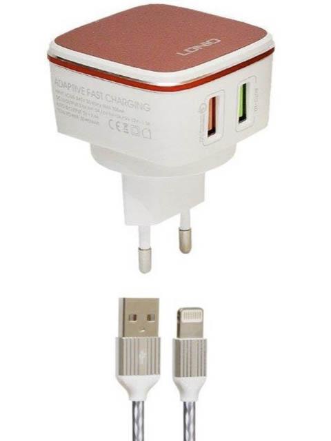 Фото - Зарядное устройство Ldnio A2405Q 2xUSB + Lightning QC 3.0 30W White-Red LD_B4363 зарядное устройство ldnio a2502c 2xusb microusb pd qc 3 0 36w black ld b4356
