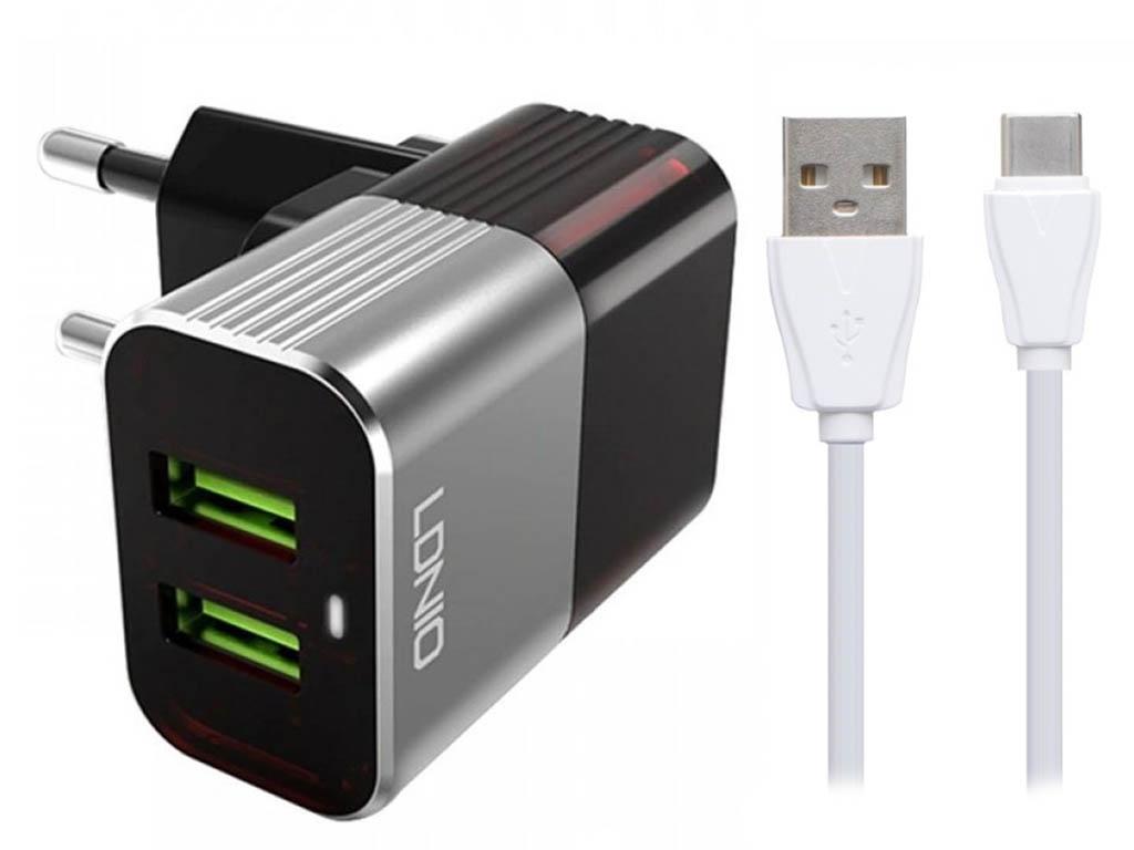 Фото - Зарядное устройство Ldnio A2206 2xUSB + Type-C 12W Black-Red LD_B4382 зарядное устройство ldnio a2502c 2xusb microusb pd qc 3 0 36w black ld b4356