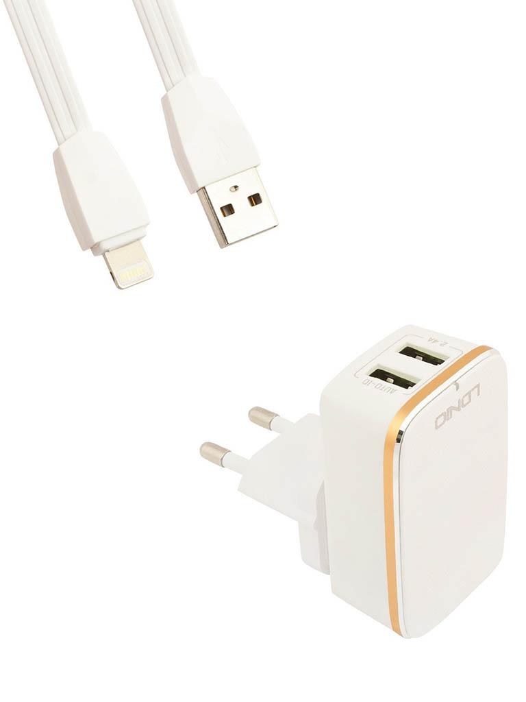 Зарядное устройство Ldnio A2204 2xUSB + Lightning 12W White-Gold LD_B4388
