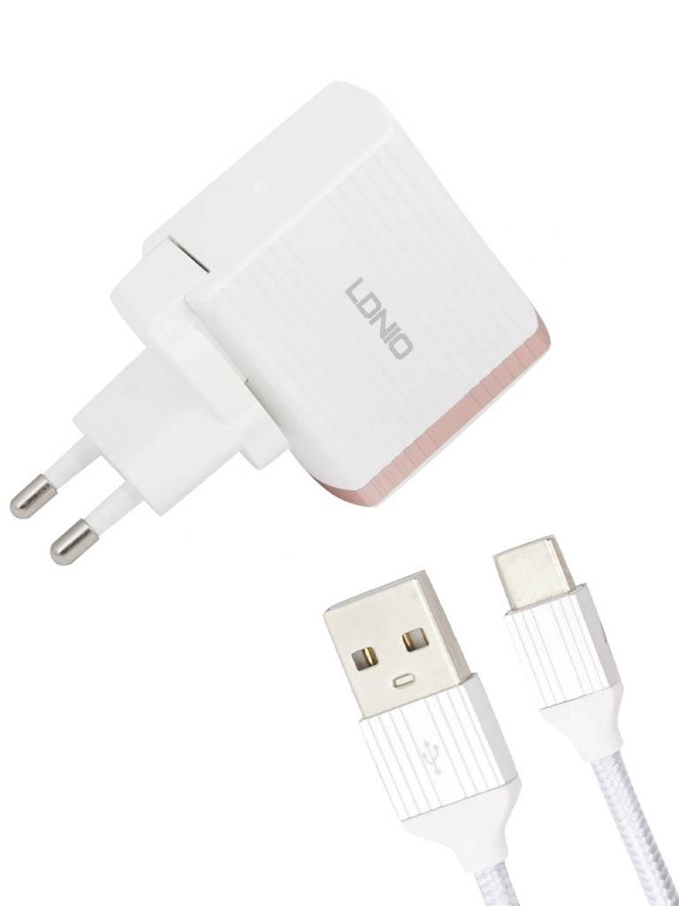 Зарядное устройство Ldnio A1302Q USB + Type-C QC 3.0 18W White-Gold LD_B4367