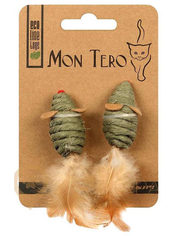 Игрушка для кошек Mon Tero Эко мышь с кошачьей мятой 2шт 5cm Green 51473