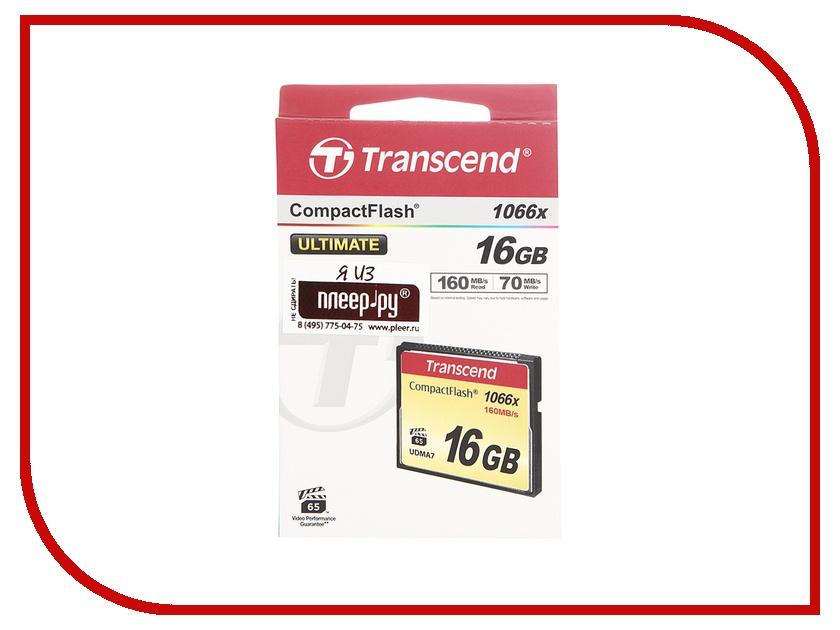 Карта памяти 16Gb - Transcend 1000x - Compact Flash TS16GCF1000 карта памяти compact flash 16gb transcend 400x ts16gcf400