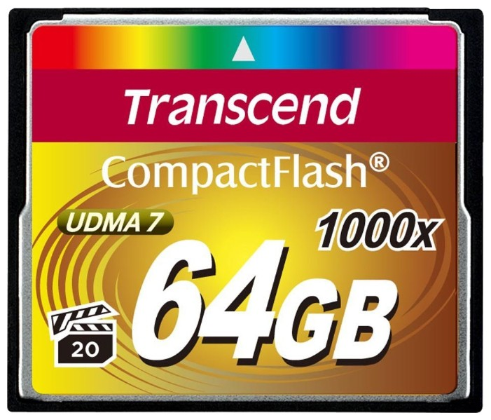 Карта памяти 64Gb - Transcend 1000x Compact Flash TS64GCF1000