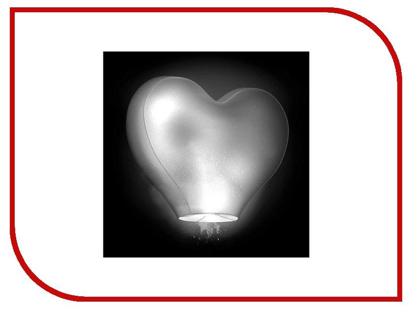 Небесный фонарик желаний Nebofon Сердце среднее 3D White