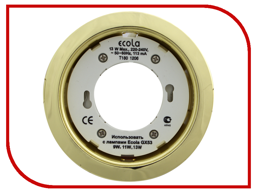 Светильник Ecola GX53 H4 220V Gold FG53H4ECB ecola gx53 h4 black chrome