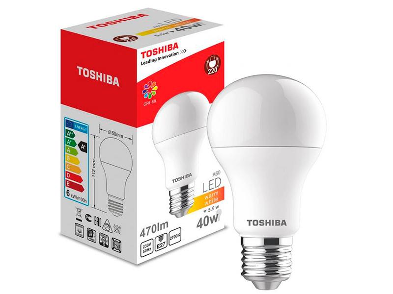 Лампочка Toshiba A55 Blub 5.5W CRI 80 ND 3000K E27 00101315948A