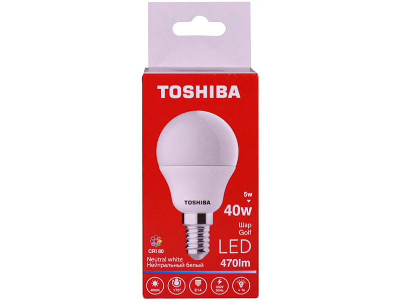 Лампочка Toshiba G45 Golf 5W CRI 80 ND 4000K E14 01301315926A