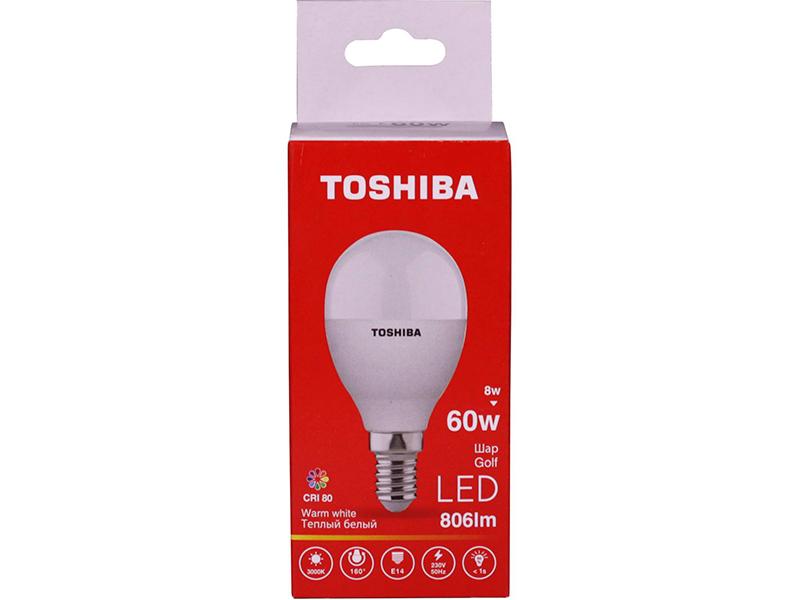 Лампочка Toshiba G45 Golf 8W CRI 80 ND 3000K E14 01301315927A