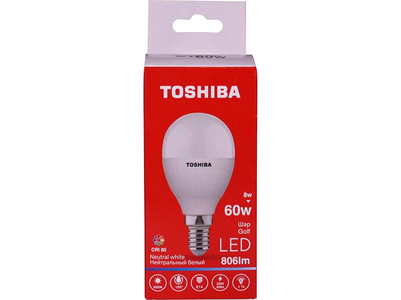 Лампочка Toshiba G45 Golf 8W CRI 80 ND 4000K E14 01301315928A
