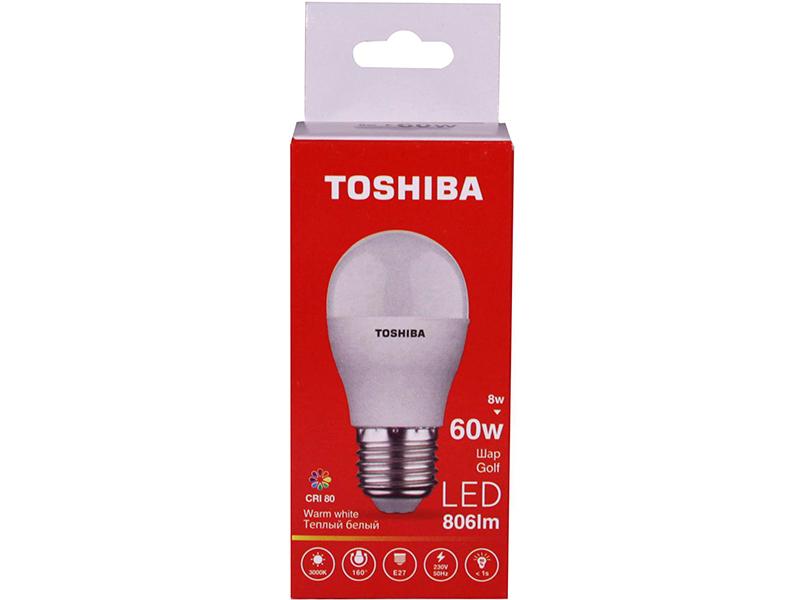 Лампочка Toshiba G45 Golf 8W CRI 80 ND 3000K E27 01301315931A