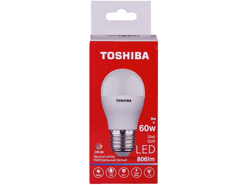 Лампочка Toshiba G45 Golf 8W CRI 80 ND 4000K E27 01301315932A