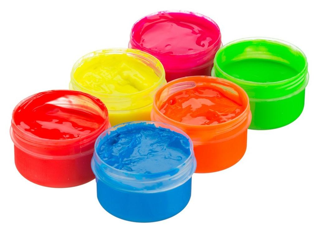 Краски пальчиковые Roxy-Kids Флуоресцентные 6 цветов по 60ml RPF-003